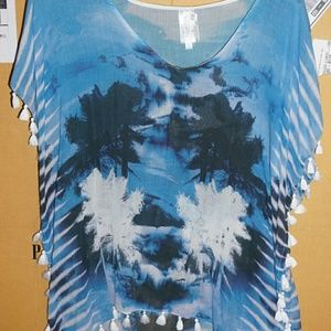 Seafolly Coverup Top Medium Blue Palm trees